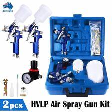 2pc HVLP Air Spray Gun Kit 1.4/0.8mm Nozzle Set Paint Touch Up Gravity Feed AU
