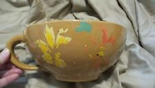 "Vintage Yellow Ware Mixing Bowl Spout Handle Cold Paint 9"" Opening - Early"
