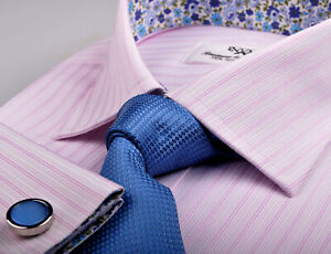 PINK CANDY TWILL STRIPES FORMAL BUSINESS DRESS SHIRT WITH FLORAL INNER-LINING
