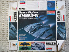 Original 1978 MONOGRAM Space Fighter RAIDER, Battlestar Galactica, RARE, Box Top