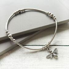 925 Sterling Silver Stretch Skinny Stack Noodle Bracelet Bee Charm Handcrafted