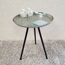 Nickel Silver Round Side Tray Table Metal Contemporary Style