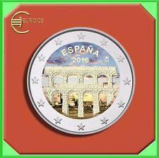 """2 Euro € Gedenkmünze Spanien 2016 """" Aquädukt von Segovia """" coloriert"""