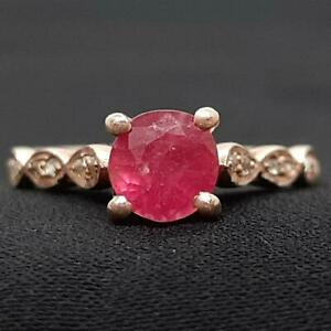1.10ctw Mozambique Ruby & H-SI Diamond 14K Rose Gold 925 Sterling Silver Ring