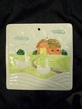 VINTAGE 1982 OTAGIRI TRIVET HOT PLATE, WALL PLAQUE TILE COUNTRY GEESE NICE!!!!