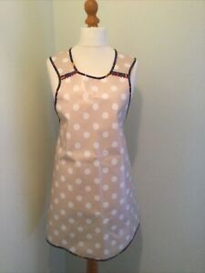 PVC Apron Pollka Dot Handmade Beige Vintage Style size 14-20