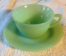 1945 VINTAGE ANCHOR HOCKING CO FIRE KING JADEITE GREEN JANE RAY CUP & SAUCER SET