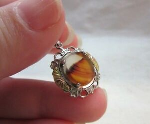 Tiny Sterling silver & red agate stone charm pendant
