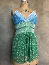 VIVIENNE TAM Mesh Net CAMI TOP Camisole Blue Green Summer Spring SILK Swingy 1 S
