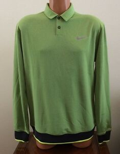 Nike Golf Men's Size Medium M Transition Long Sleeve Polo Shirt Green 686073