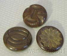"30s vtg mixed lot 3 CARVED BROWN BAKELITE BUTTONS 1-5/8"" large chunky TESTED"