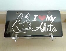 I Love My Akita (black) acrylic mirror laser cut license plate dog pet breed