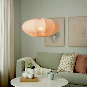 "Ikea REGNSKUR Pendant Lamp Textile Shade Oval Pink 20"" - NEW"