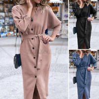 UK Women Button Long Sleeve Midi Dress Ladies V Neck Party Wrap Shirt Dress Size