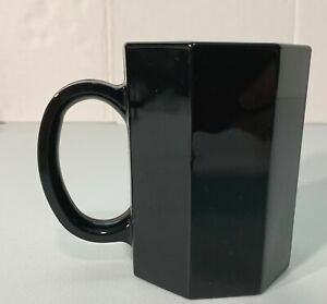 Arcoroc Black Octagon Ceramic Coffee Mug Cup France 8 Sided Vintage