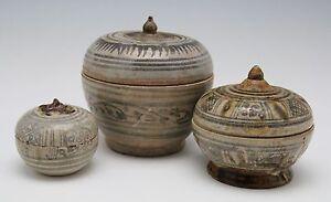 3x antique 14th 15th C pottery, Sawankhalok ceramic box, Swankalok Thailand Siam