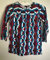 Hanna Andersson mod geometric tunic dress girl 120 6 6X 7 fall blue purple red