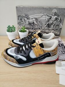 *NWB* Gucci Mens Sneakers shoes ULTRAPACE Black/Pewter/Yellow Snake US 10