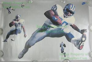 NITF ☆ Vintage ☆ Original ☆ NIKE Football Poster ☆ Barry SANDERS Detroit Lions