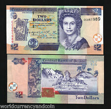 BELIZE $2 P60 2002 QUEEN *BUNDLE*RUIN UNC CARIBBEAN GB UK MONEY BANKNOTE 100 PCS