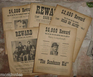 Set of 5 Old West Wanted Posters Wild Bunch Butch Cassidy Sundance Kid, more