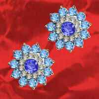 Blüte Sonne Ohrring Exklusiv Echt 925 Sterling Silber Zirkonia Kristall Strass