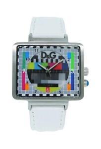 Dolce & Gabbana Time DW0513 Men's Analog Retro TV Style White Leather Watch