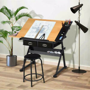 Drawing Drafting Table Adjustable Desk with 2 drawers for Home Office & School