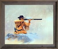 Western Mountain Man with Rifle Hunting Barnwood Wall Art Framed Picture (19x23)