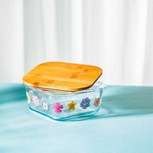 Small Glass Storage Box, Pressed Flower Design with Bamboo Lid, Sass & Belle