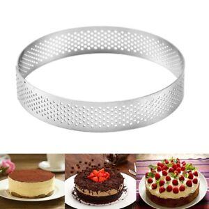 7 Size Stainless Round Perforated Tart-Ring Mousse Cake Baking Ring Kitchen Tool
