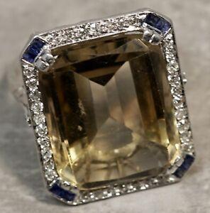 Antique Art Deco 1920's Solid Platinum .50ctw Diamond Citrine Sapphire Ring