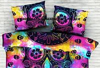 Hand Tie Dye Scary Skull Cotton Indian Pillow Sham Mandala Pillow Cushion Cover