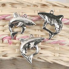 20pcs antiqued silver shark design pendant charm G920
