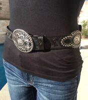 New JUSTIN Concho Belt sz 30 Black Leather Western Amarillo Star silver stud $91