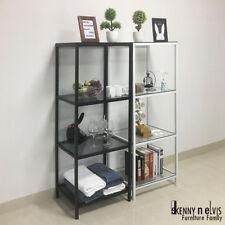 """KennynElvis 20"""" 4-Tier Metal Multipurpose Display Shelf Rack (Black)"""