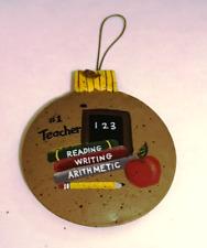 #1 TEACHER  Metal Christmas Ornament tan teacher teaching decor plaque sign 4x3