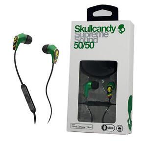 Skullcandy 50/50 For Apple iPhone Ipad iPod with Remote/MIC Rasta Green Jamaica