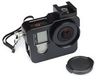 Black Aluminium Protective Housing Case With Lens Cap Hand Rope For GoPro Hero 4