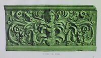 Ancient Rome Terracotta Tile-Plate XII-Orig Folio Lithograph Campana Relief 1851