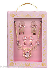 Disney Store Princess Belle Costume Accessory Set Necklace Earrings Hair Combs