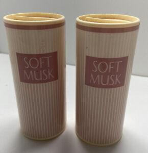 Avon Soft Musk Perfumed Talc Powder 2 Bottles 2.6 Fl oz New Old Stock