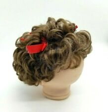 Vintage Doll Wig Brown Hair In Curls with Red Ribbons