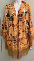 Jodifl Kimono Boho Open Cardigan Top Fringe Golden Rod w/ Multicolor Floral Sz M