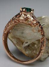 Green Emerald Edwardian Sterling Silver & Rose Gold Floral Filigree Ring Size 6