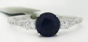 GENUINE 1.16 Cts BLUE SAPPHIRE & DIAMONDS RING 10K WHITE GOLD  *Free Certificate