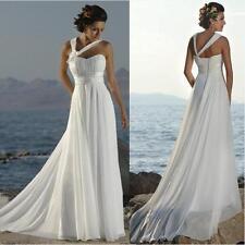 Cheap Simple Chiffon Beach Boho Wedding Dress under $50 Lace up Back