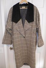 WOMEN'S GIANNI VERSACE BLACK WHITE HOUNDSTOOTH SILK COAT BUTTON FRONT SIZE 40