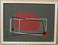 Michael Feicht (geb. 1959): Linienkomposition auf dunklem Grund mit roter Fläche