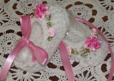 BABY SHOES HANDMADE CROCHET 0-3 MONTHS WHITE -PINK ROSES by ROCKY MOUNTAIN MARTY